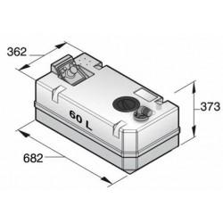 BTANK60C - Schmutzwassertank 60 L, inkl. Anschlüsse und Inspektionsdeckel
