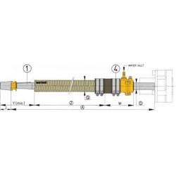 BG30/0500 - Polyester Stevenohr L 500 mm mit Gummilager, Welle 30mm